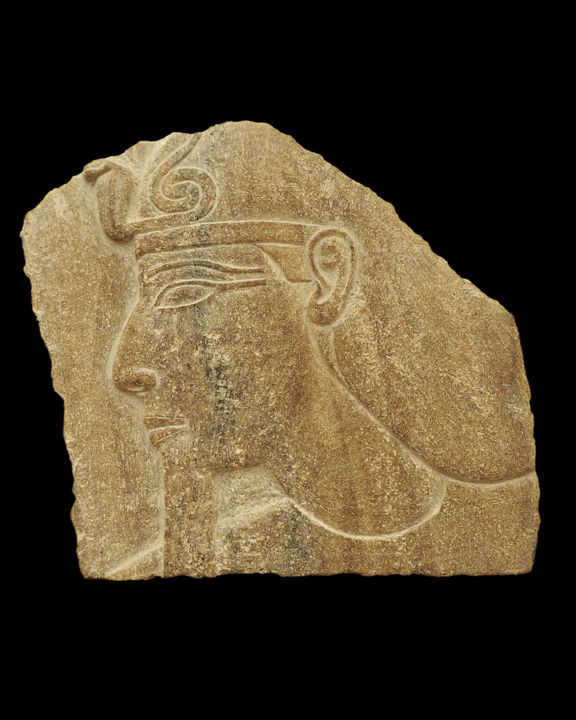 Relief of Thutmose III - Sculpture,  5.5x5.1 in, ©1940 by Unknown Unknown -                                                                                                                                                                                                                                                                                                                                                                                                                                                                                                                          History, Men, thutmose, thutmosis, relief, egyptian relief, egyptian sculpture, ancient egypt, ancient art, egyptian art, quartzite