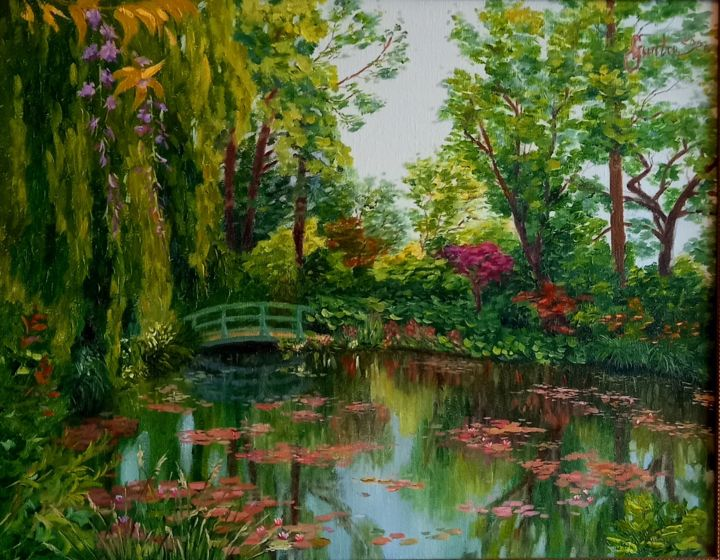 """Painting titled """"Giverny,  Monet's G…"""" by Gunta Upeniece, Original Art, Oil"""