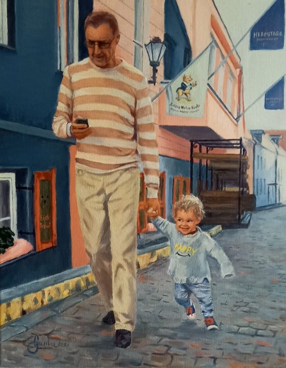 """Painting titled """"For a walk"""" by Gunta Upeniece, Original Art, Oil"""