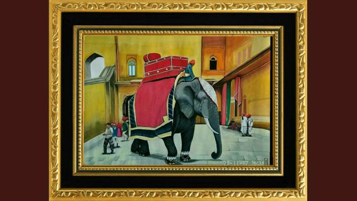 """Painting titled """"Royal elephant of R…"""" by Chandan Mondal, Original Art, Watercolor Mounted on Cardboard"""