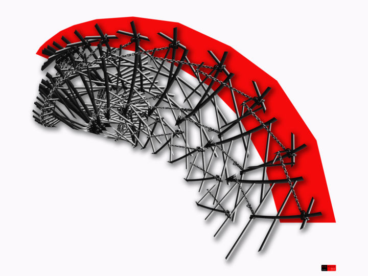 Red Noise 11 - Photography, ©2018 by Wouter Koster -                                                                                                                                                                                                                                                                                                                                                                                                                                                                                                                                                                                                                                                                                                                              Conceptual Art, conceptual-art-579, Abstract Art, Architecture, Geometric, Patterns, Black and White, urban, street, patterns, repetition, photography, transformation, graphic art, rotation