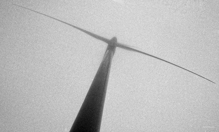 MistyMill One - Photography,  31.5x47.2 in, ©2019 by Wouter Koster -                                                                                                                                                                                                                                                                                                                                                                                                                                                                              Architecture, Cities, Technology, Science & Technology, windmil, mist, analog, analoog, windmolen, Black and White