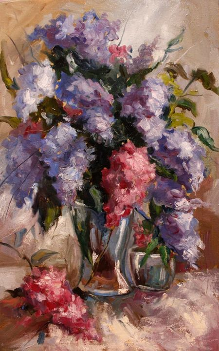 """Painting titled """"Lilac in vase"""" by Ruslan Prus, Original Art, Oil"""