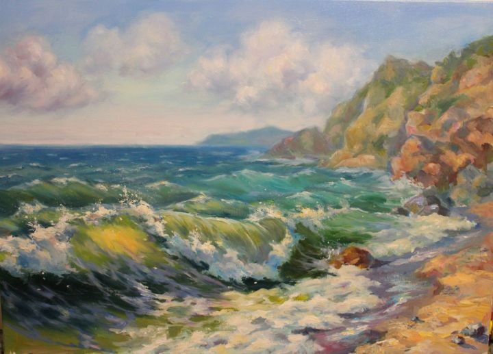 """Painting titled """"South wave"""" by Ruslan Prus, Original Art, Oil"""