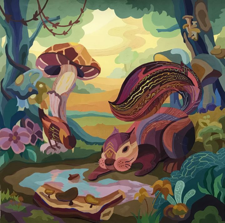 """Painting titled """"Little squirrel"""" by Uyển Nhi Nguyễn Trần, Original Art, Gouache"""