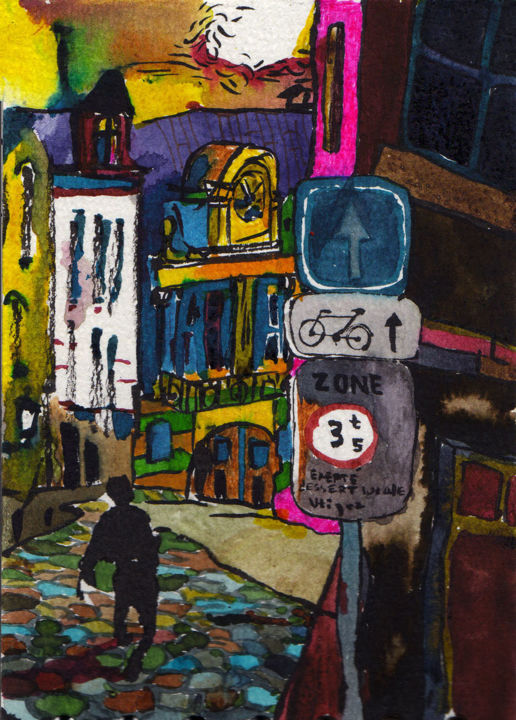Street in Bruxelles - Painting,  10x13.3x1 cm ©2010 by Vakarelova Emma -                                                                                                        Art Nouveau, Expressionism, Illustration, Surrealism, Angels, Cities, Landscape, Bruxelles, Belgium, walk, outside, city, streets, figure, pink, brown, architecture