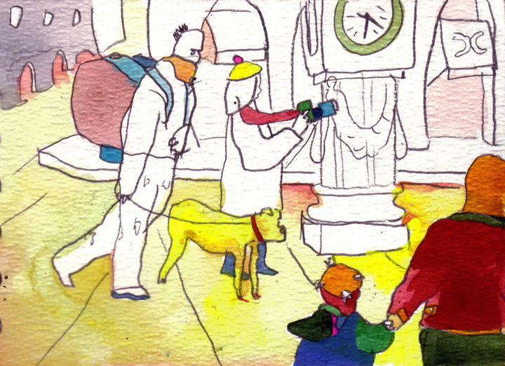 A day in Bordeaux - Drawing,  3.9x5.2x0.4 in ©2011 by Vakarelova Emma -                                                                                                        Expressionism, Illustration, Surrealism, Architecture, Cities, Cityscape, Family, family, time, yellow, red, pink, white, dog, man, clock, kids