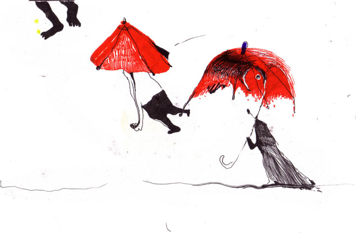 La  pluie - Drawing,  13.4x20.3x1 cm ©2007 by Vakarelova Emma -                                                                    Illustration, Children, Cityscape, People, rain, red, black, ink, drawing, silhouettes, fly, s'envoler, poetry, haiku
