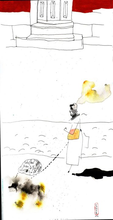 The thinking lady - Drawing,  40x20x1 cm ©2011 by Vakarelova Emma -                                                                                                        Art Nouveau, Illustration, Angels, Animals, Black and White, Kids, Women, lady, dog, thoughts, thinking, brain, houses, outdoor, yellow, red, white, gray
