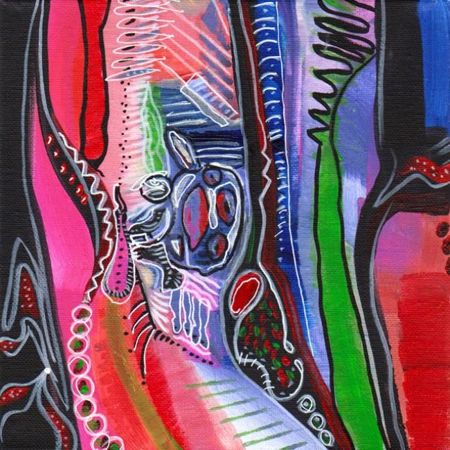 Germification - Peinture,  7,9x7,9x0,4 in, ©2013 par Valerie Nunes -                                                                                                                          Abstract, abstract-570