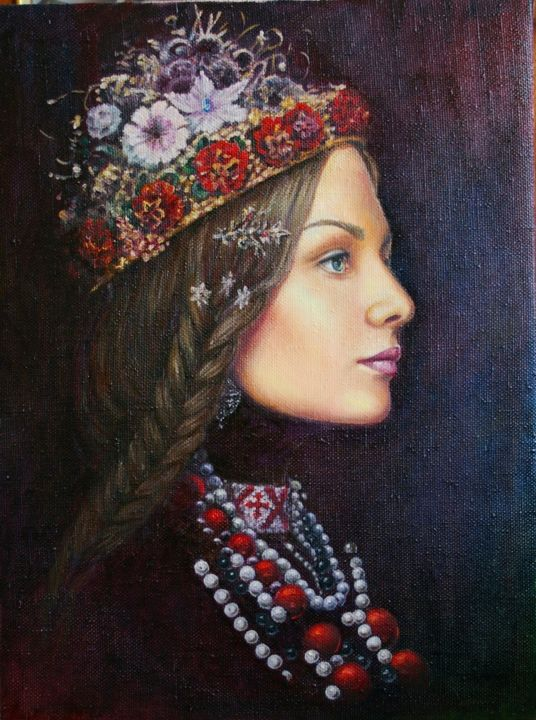 Helena - Painting,  23.6x17.7x1.2 in, ©2016 by Nataliya Bagatskaya -                                                                                                                                                                                                                                                                                                                                                                                                                                                                                                                                                                                                                                                                                                                                                                          Figurative, figurative-594, Women, Celebrity, Love / Romance, Portraits, medium, portrait, woman, hutsul, red, girl, face, brown, necklace, wreath