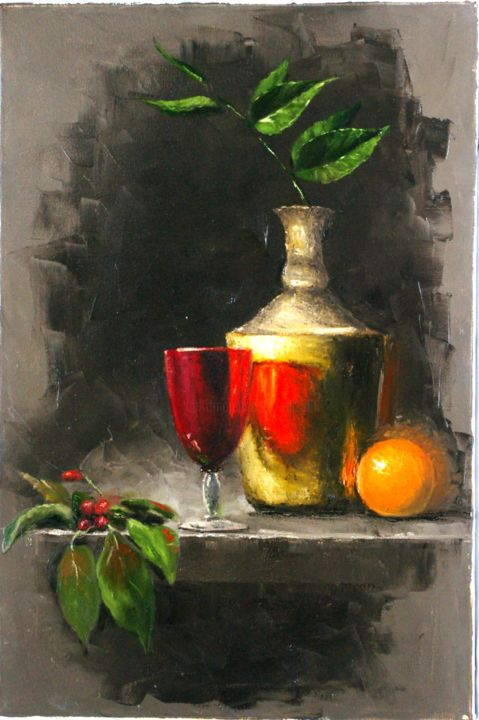 Still life with the Cherry - Painting,  23.6x15.8x0.8 in, ©2017 by Nataliya Bagatskaya -                                                                                                                                                                                                                                                                                                                                                                                                                                                                                                                                                                                                                                                                                                                                                                                                                                                                                                                                                              Figurative, figurative-594, Fabric, Cotton, Canvas, Still life, Food & Drink, Colors, Flower, cherry, vase, branch, leaves, wineglass, orange, red, medium, oil on canvas, green, classic