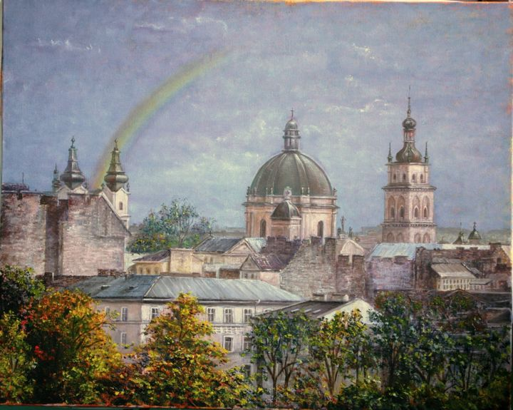 Lviv rainbow - Painting,  15.8x19.7x0.8 in, ©2016 by Nataliya Bagatskaya -                                                                                                                                                                                                                                                                                                                                                                                                                                                                                                                                                                                                                                                                                                                                                                                                                                                                      Figurative, figurative-594, Fabric, Cotton, Canvas, Architecture, Seasons, Time, Cities, Cityscape, Lviv, town, roofs, rainbow, trees, green, sky, Cathedrals