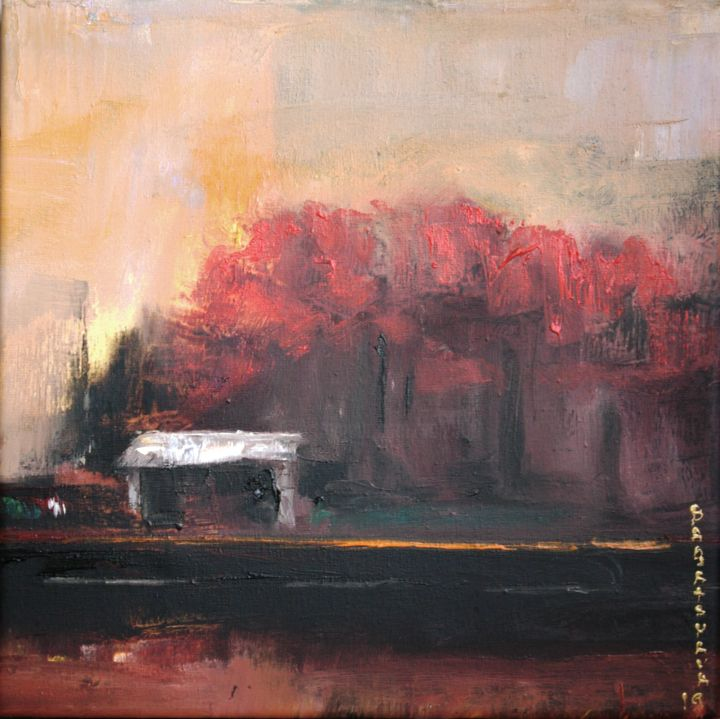 The autumn - Painting,  9.8x9.8x0.8 in, ©2019 by Nataliya Bagatskaya -                                                                                                                                                                                                                                                                                                                                                                                                                                                                                                                                                                                                                                                                                                                                                                                                                                                                      Abstract, abstract-570, Cotton, Canvas, Abstract Art, Seasons, Time, Cityscape, Tree, autumn, landscape, abstraction, red, small, trees, road, oil on canvas, nature