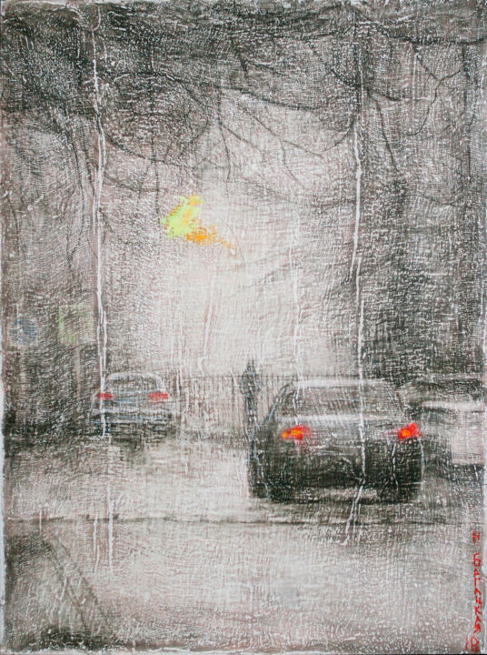 Winter in the City - Painting,  80x60x2.5 cm ©2018 by Nataliya Bagatskaya -                                                                                                                                Contemporary painting, Figurative Art, Impressionism, Symbolism, Automobile, Black and White, Car, Cities, Cityscape, city, winter, street, lights, buildings, trees, snow, seasons, red, black and white, yellow, town