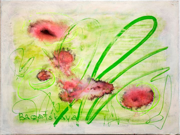 Flowers - Painting,  11.8x15.8x0.8 in, ©2020 by Nataliya Bagatskaya -                                                                                                                                                                                                                                                                                                                                                                                                                                                                                                                                                                                                                                                                                                                              Abstract, abstract-570, Abstract Art, Botanic, Seasons, Still life, Flower, abstract flowers, color blots, color spots, green lines, light artwork, bright painting, medium size, piece of thinking