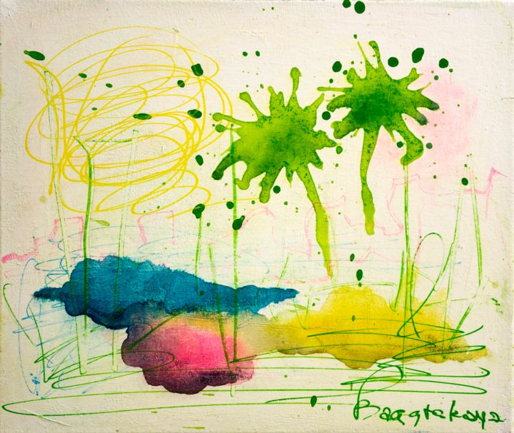 The Palm Trees - Painting,  9.8x11.8x0.8 in, ©2020 by Nataliya Bagatskaya -                                                                                                                                                                                                                                                                                                                                                                                                                                                                                                                                                                                                                                                                                                                                                                                                                      Abstract, abstract-570, Abstract Art, Botanic, Landscape, joyful painting, botanic, piece of thinking, color spots, abstract painting, for interior, color blots, green trees, emotives art, lyrical abstraction, rose background, energetic feelins