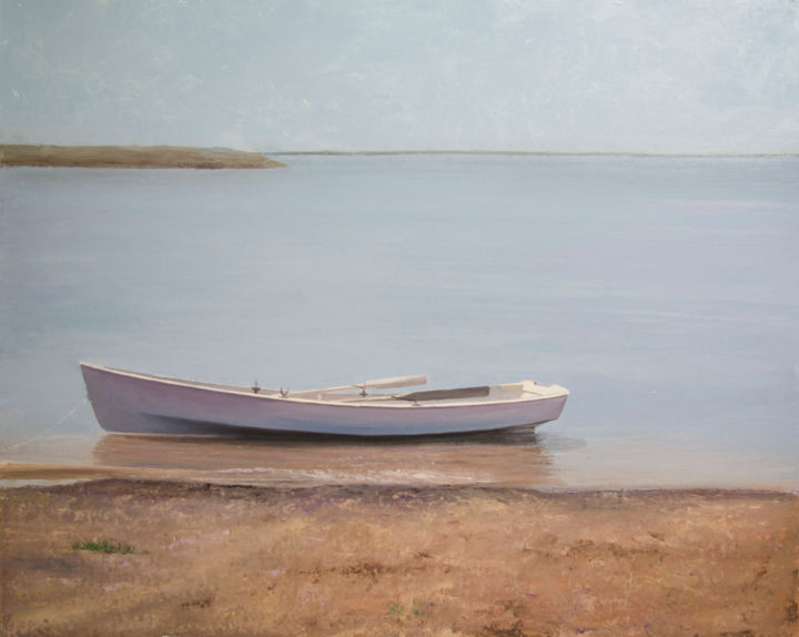 Sailed... - Painting,  31.5x39.4x0.1 in, ©2020 by Nataliya Bagatskaya -                                                                                                                                                                                                                                                                                                                                                                                                                                                                                                                                                                                                                                                                                                                                                                          Figurative, figurative-594, Beach, Boat, Landscape, Water, boat, river, for interiors, joyful painting, large size, oil on cardboard, river pebbles, grey background, island, water
