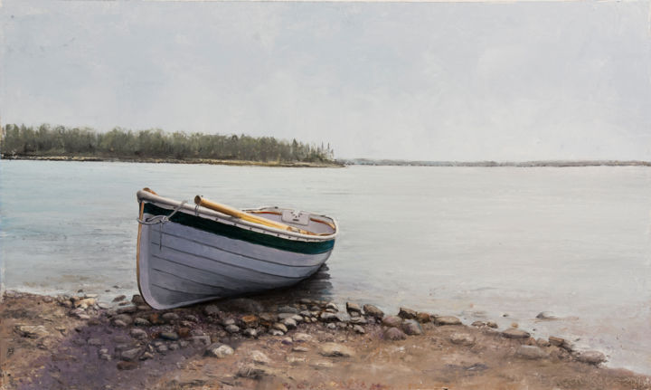 On the Riverside - Painting,  18.5x31.5x0.1 in, ©2020 by Nataliya Bagatskaya -                                                                                                                                                                                                                                                                                                                                                                                                                                                                                                                                                                                                                                                                                                                                                                                                                                                                                                              Hyperrealism, hyperrealism-612, Beach, Boat, Landscape, Nature, Water, boat, oil on cardboard, water, painting for home, bank of the river, medium size, grey sky, river pebbles, joyful painting, island, wide river, grey background