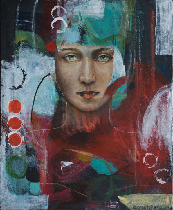My Worlds - Painting,  21.7x17.7x0.8 in, ©2020 by Nataliya Bagatskaya -                                                                                                                                                                                                                                                                                                                                                                                                                                                                                                                                                                                                                                                                                                                                                                                                                                                                  Abstract, abstract-570, Abstract Art, People, Portraits, Women, abstract background, female face, female portrait, rounds, red, green, white, lines, beautyful women, medium size, for interior, joyful painting