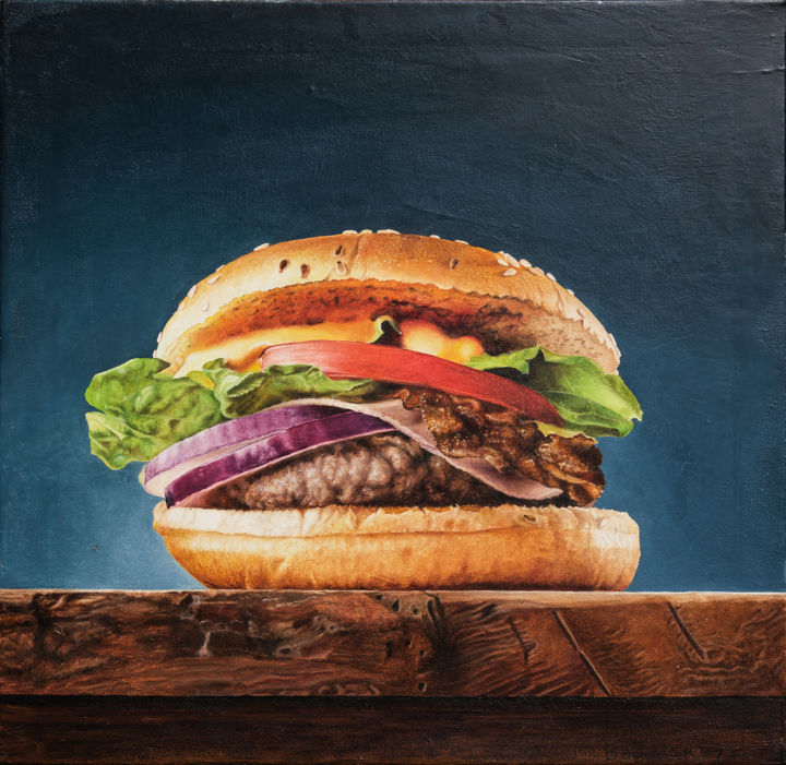 Just Hamburger - Painting,  19.7x19.7x0.8 in, ©2020 by Nataliya Bagatskaya -                                                                                                                                                                                                                                                                                                                                                                                                                                                                                                                                                                                                                                                                                                                                                                                                                                                                  Hyperrealism, hyperrealism-612, Food & Drink, Interiors, Kitchen, Still life, photorealism, medium size, joyful painting, blue bow, for interior, tasty food, hamburger cutlet, green salad, delicious bun, for kitchen, hyperrealism, yellow cheese