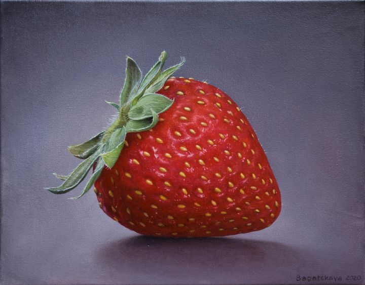 Just Strawberry - Painting,  13.8x17.7x0.8 in, ©2020 by Nataliya Bagatskaya -                                                                                                                                                                                                                                                                                                                                                                                                                                                                                                                                                                                                                                      Hyperrealism, hyperrealism-612, Food & Drink, Still life, strawberry, berry, red, delicacy, black background, medium size, joyful painting, for interior, green leaves