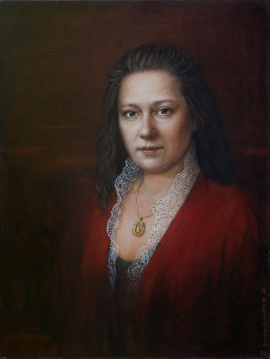 Autoportrait - Painting,  23.6x17.7x0.8 in, ©2020 by Nataliya Bagatskaya -                                                                                                                                                                                                                                                                                                                                                                                                          Figurative, figurative-594, Portraits, female portrait, female face, red, oil on canvas, autoportrait
