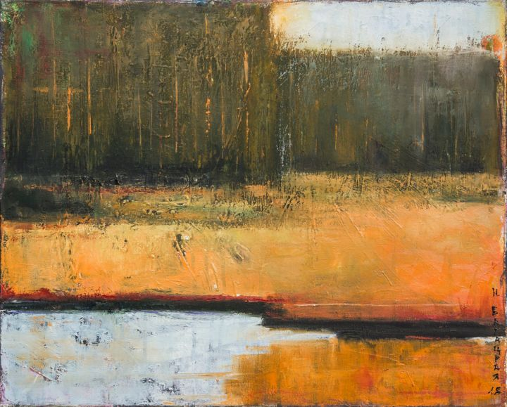 Somewhere in the Forest ... - Painting,  17.7x21.7x0.8 in, ©2018 by Nataliya Bagatskaya -                                                                                                                                                                                                                                                                                                                                                                                                                                                                                                                                                                                                                                                                                                                              Abstract, abstract-570, Botanic, Garden, Landscape, Nature, Water, trees, orange, river, abstract landscape, summer, for interior, hot, abstract forest