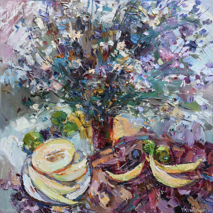 Wildflowers Still Life Original oil painting - Schilderij,  80x80x2 cm ©2017 door Anastasiya Valiulina -                                                                                    Figuratieve Kunst, Impressionisme, Canvas, Stilleven, Bloem, oil painting, wild flowers, Melon, Wall art, painting, Home decor, Cloth canvas oil, still life, fruit painting, Meadow flowers, Knife painting, Large oil painting, impasto painting, flower painting