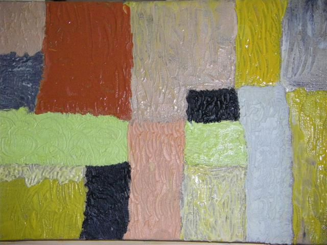 Patchwork - Painting,  7.9x15.8 in, ©2010 by Valbrun -