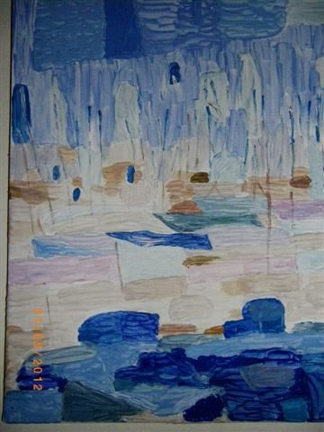Marine - Painting,  15.8x11.8 in, ©2012 by Valbrun -                                                                                                                                                                          Abstract, abstract-570, Tableau d'un petit port
