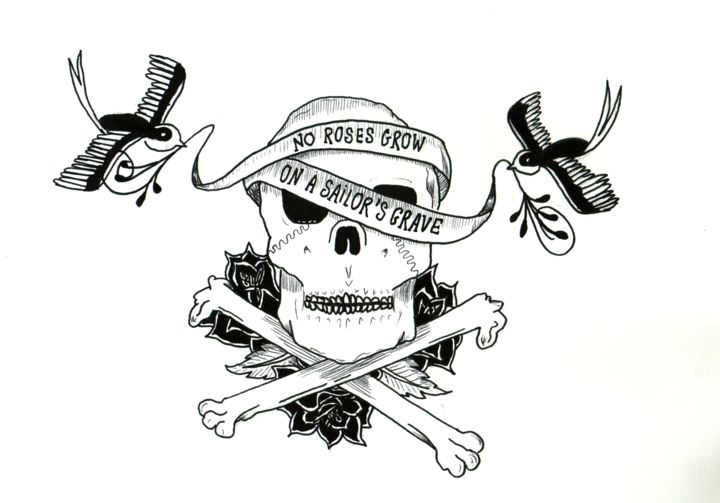 No roses grow on a sailor's grave - Drawing,  8.3x11.7 in, ©2015 by Valentine Fasquel -                                                                                                                                                                                                                                                                                                                                      dessin, tatouage, linework, crâne, oiseau, rose, banderole
