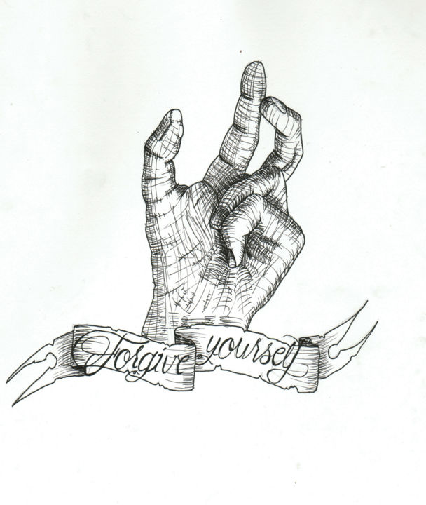 Forgive Yourself - Drawing,  11.4x8.3 in, ©2015 by Valentine Fasquel -                                                                                                                                                                                                                                              main, pardon, dessin, linework, tatouage