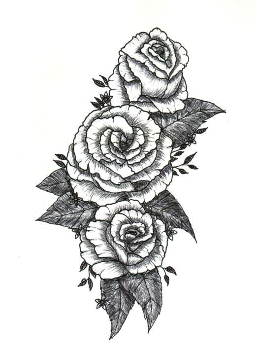 Roses Drawing By Valentine Fasquel Artmajeur