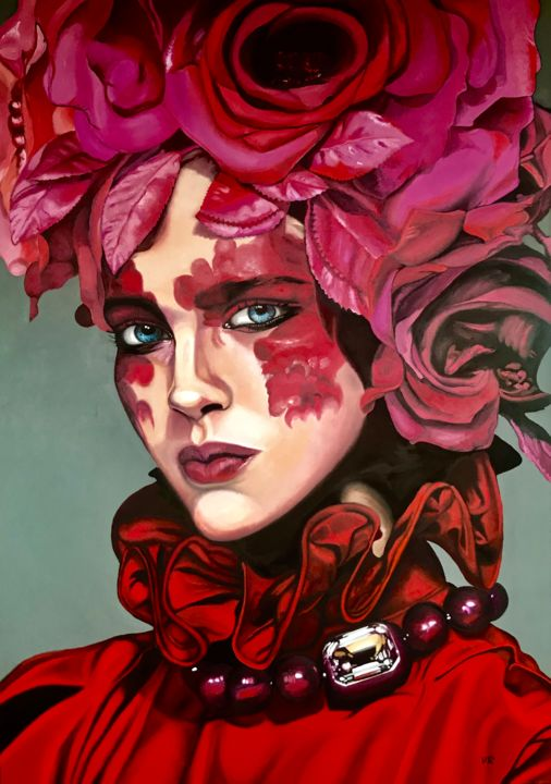 Roses Woman - Painting,  55.1x39.4x0.8 in, ©2017 by Valentina Andrees -                                                                                                                                                                                                                                                                                                                                                                                                                                                                                                                                              Figurative, figurative-594, Portraits, portrait, woman, roses, rose, flowers, beauty, red, love