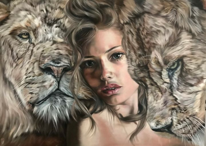 Queen of the Lions - Painting,  39.4x55.1x0.8 in, ©2019 by Valentina Andrees -                                                                                                                                                                                                                                                                                                                                                              Figurative, figurative-594, Portraits, woman, portrait, lion, wild