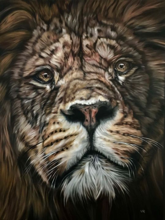 Dignified - Painting,  63x47.2x1.6 in, ©2019 by Valentina Andrees -                                                                                                                                                                                                                                                                                                                                                              Figurative, figurative-594, Portraits, lion, king, portrait, animal