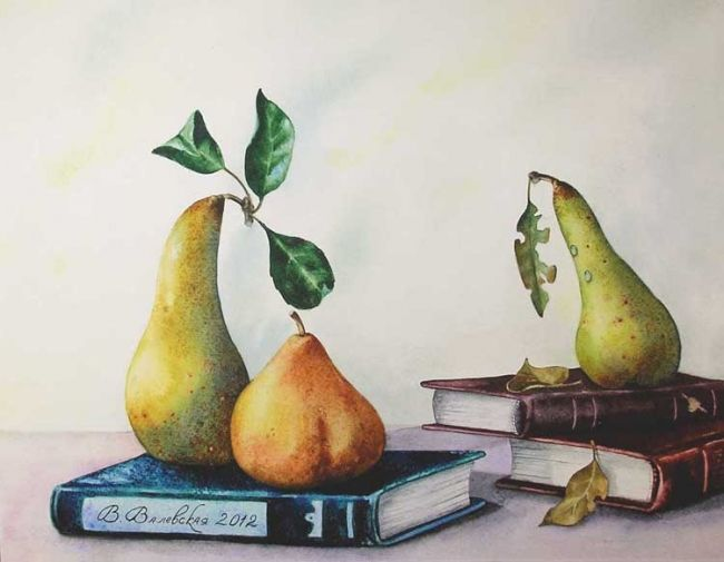 Pear triangle - Painting,  34x43 cm ©2012 by Valentina -                            Realism, Pears, watercolor, paintings, books, still life, Valevskaya