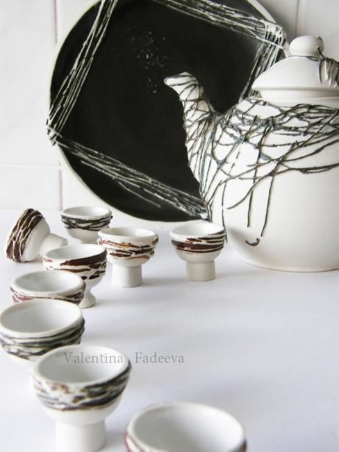"""Nest"" - Sculpture ©2009 by Valentina Fadeeva -            porcelain set"