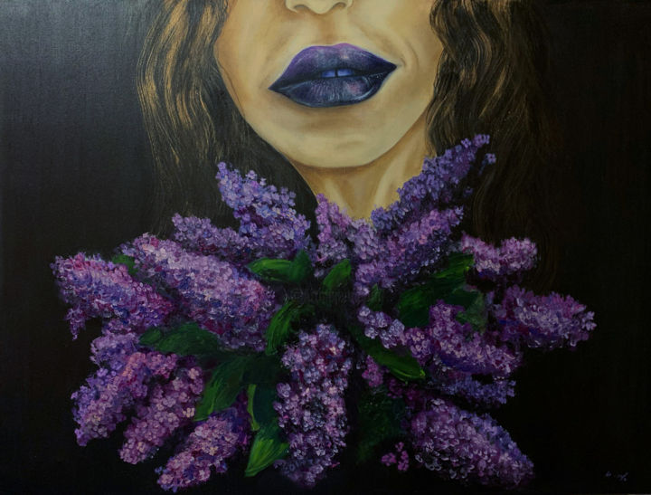 """Painting titled """"Lilac"""" by Valentina Reina, Original Art, Oil"""