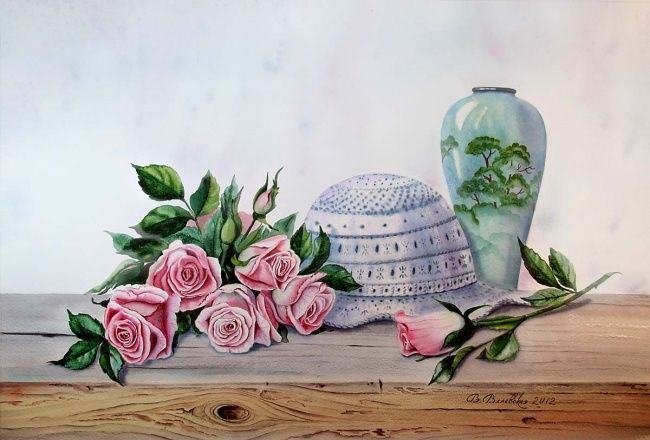 Вязаная шляпка - Painting,  45x66 cm ©2012 by Valentina -                            Realism, Hat, roses, flowers, watercolor, still life, painting, Valevskaya
