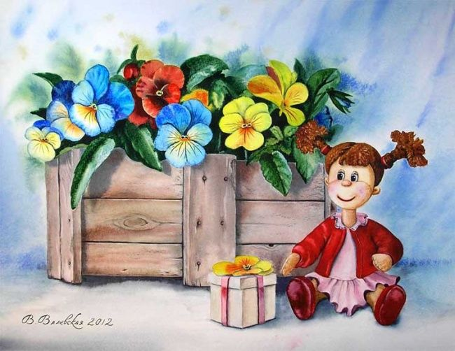 A doll with a gift - Painting,  44x35 cm ©2012 by Valentina -                            Realism, Doll, watercolors, paintings, villa, pansies, flowers, still life, a gift, Кукла, акварель, живопись, вила, анютины глазки, цветы, натюрморт, подарок