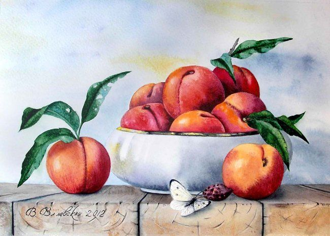 Sweet peaches - Painting,  26x36 cm ©2012 by Valentina -                            Realism, Watercolor, Still Life, Peaches, vase, butterfly