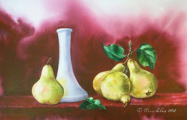 Pears 2 - Painting,  41x27 cm ©2012 by Valentina -                            Realism, Watercolor, pears, still life, painting, Valevskaya, vase