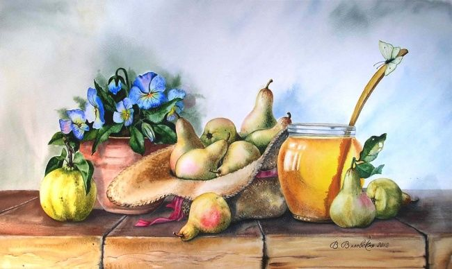 Шляпка с грушами - Painting,  65x40 cm ©2012 by Valentina -                            Realism, Watercolor, Still Life, pears, flowers, summer, quince