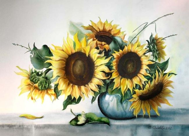 Bouquet of sunflowers - Painting,  70x50 cm ©2012 by Valentina -                            Realism, Watercolor, sunflowers, flowers, summer, flower, vase, butterfly