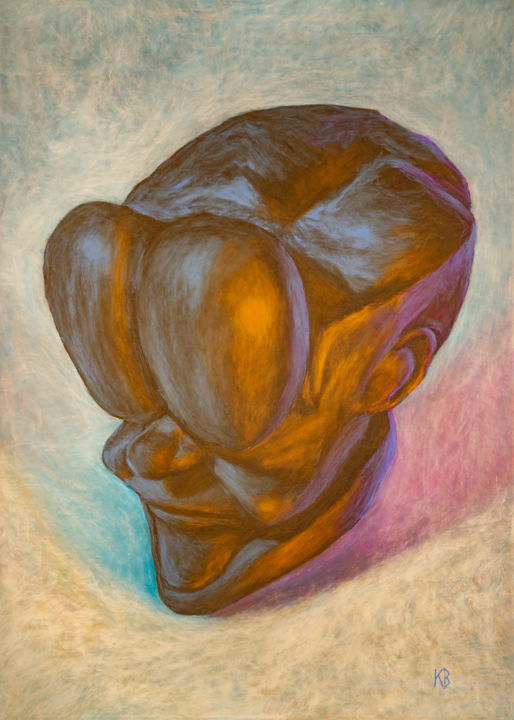 """Drawing titled """"Lun"""" by Valentin Kanellopoulos, Original Art, Pastel"""