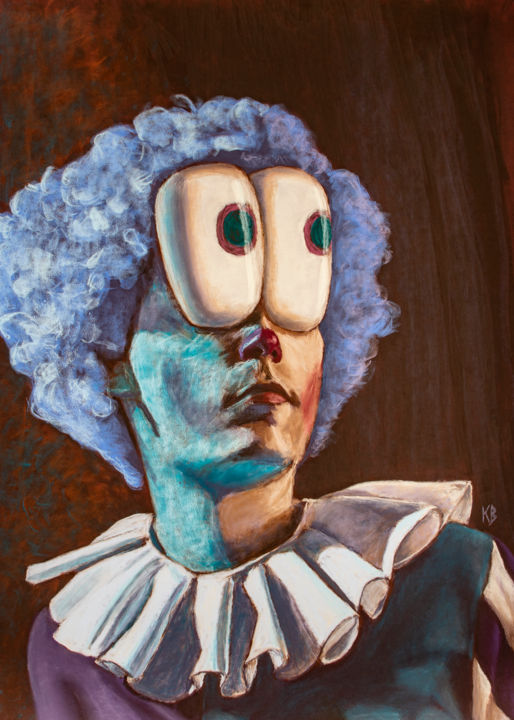 """Drawing titled """"Lunael's Clown"""" by Valentin Kanellopoulos, Original Art, Pastel"""
