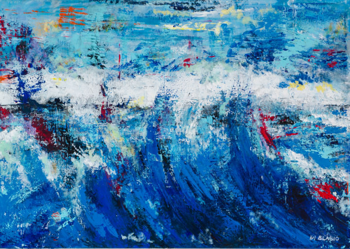 Mare d'inverno - Painting,  27.6x39.4x1.2 in, ©2015 by Valeria Di Blasio -                                                                                                                                                                                                                                                                      Abstract, abstract-570, Water, Seascape, mare