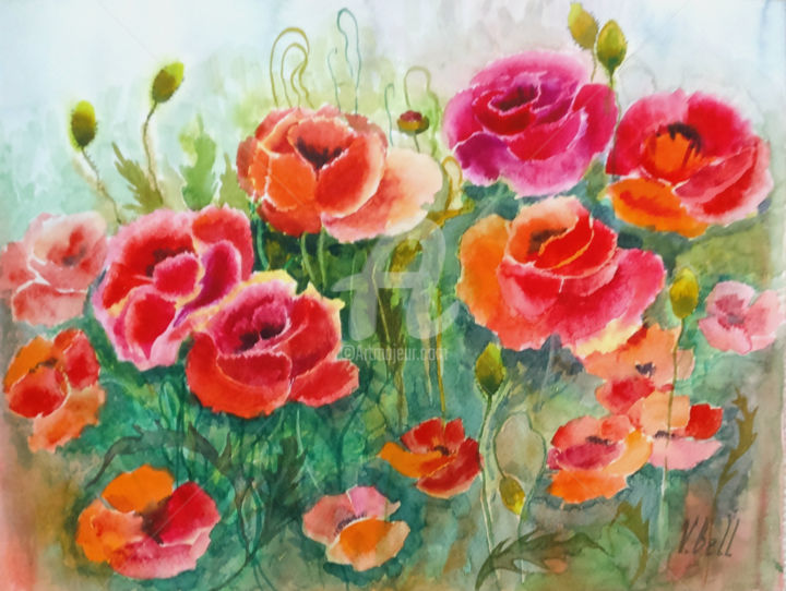 Flaming Poppies, poppies in the meadow, red flower - Painting,  30x40x0.1 cm ©2018 by Valeria Belogurova -                                                                                                Impressionism, Paper, Botanic, Seasons, Nature, Flower, bright flower, bright red flowers, bright red, flower painting, red and orange, red poppies, wild flowers, meadow, fleur lumineuse, fleurs rouge vif, rouge vif, peinture de fleurs, rouge et orange, coquelicots rouges, fleurs sauvages, prairie